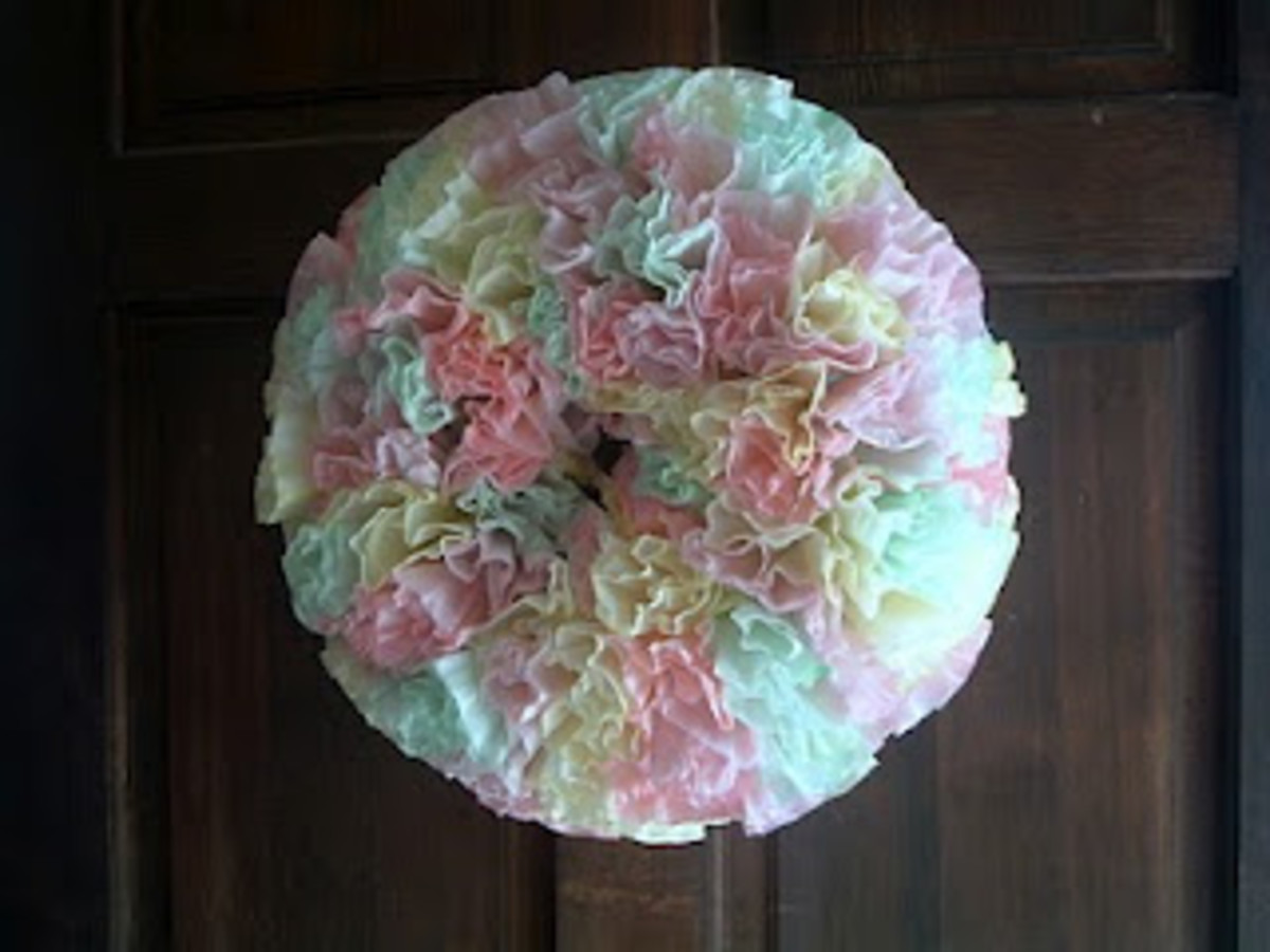 fluffy pastel wreath