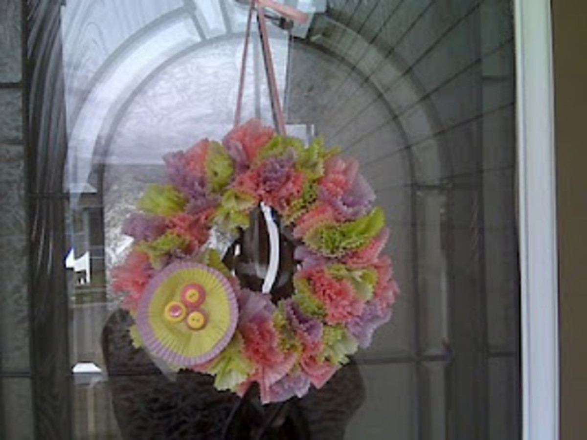 cupcake wrapper Easter wreath