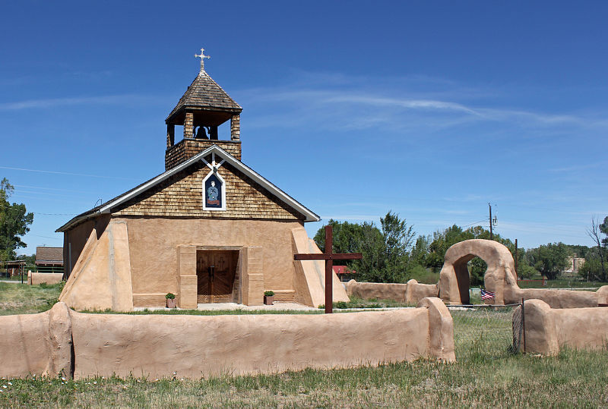 The Capilla de Viejo San Acacio, located in Viejo San Acacio, Colorado. The church is listed on the National Register of Historic Places.