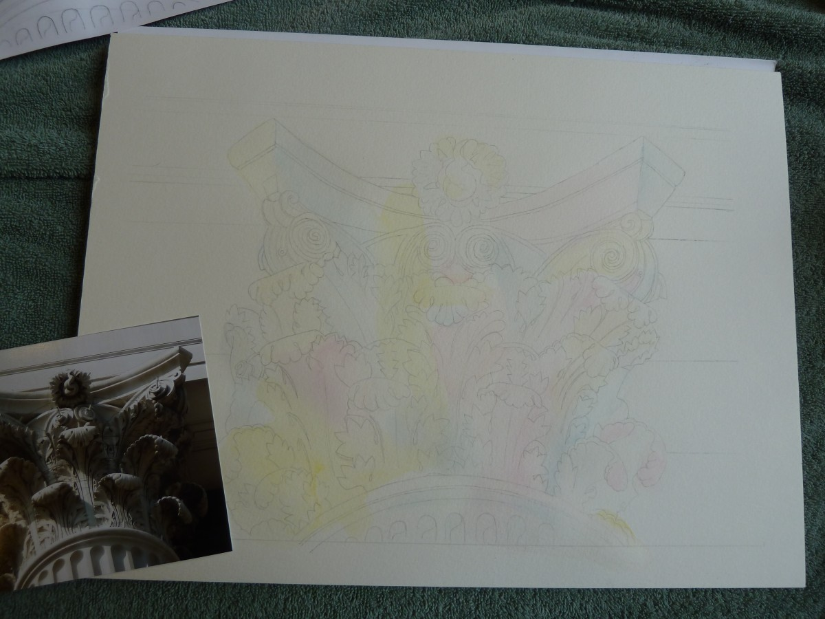 This is a photo of the initial lightly colored washes applied to the painting.