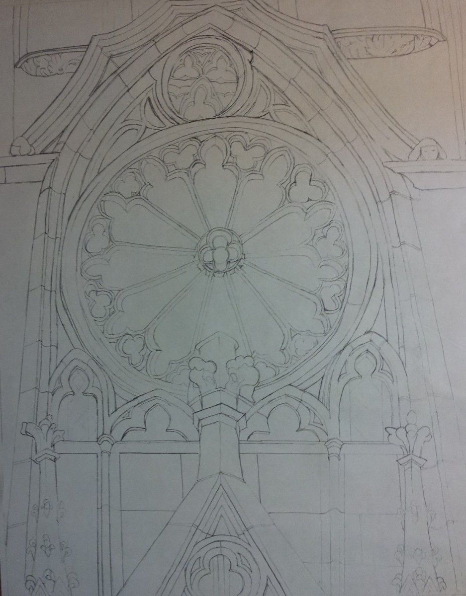 Devotion - Drawing ready for transfer to watercolor paper