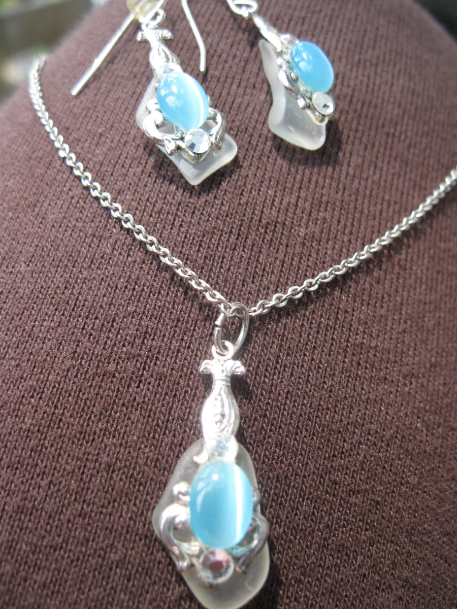 Beach glass made into jewelry bought at a Summer Art Fair