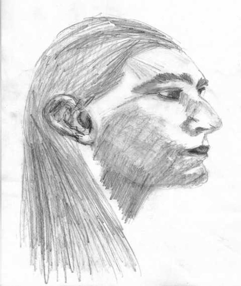 Drawing I made of the Native American who came to me, later to be known as my spirit guide