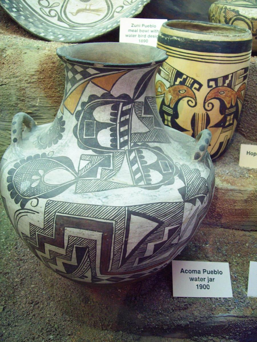 A picture I took of a jar from Acoma (in northern New Mexico).  This jar was used for water and for storing various foods.