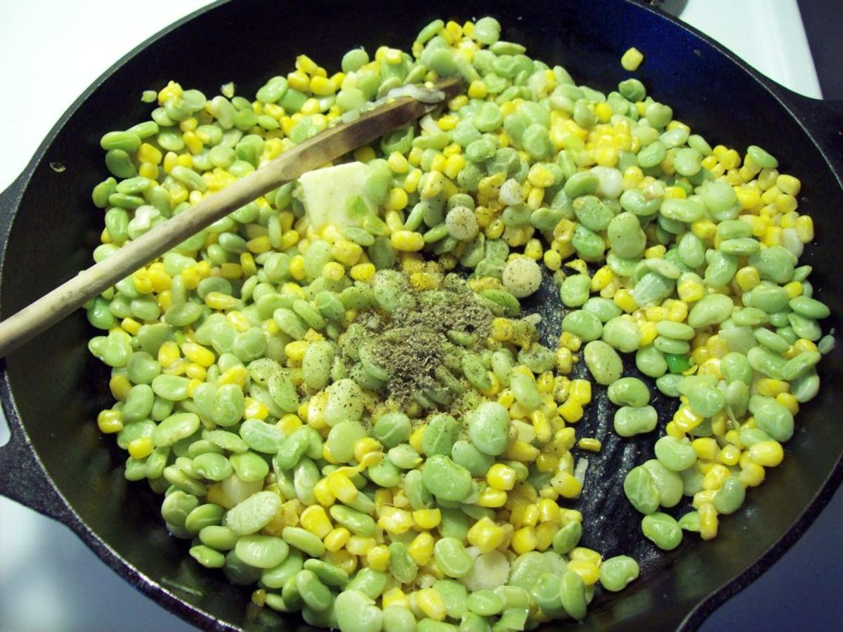 Add the butter, sage, salt and pepper.  Stir and heat through.  Serve hot.