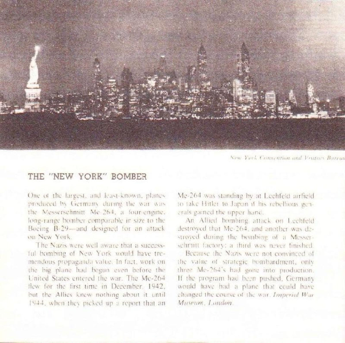 Photo of New York allegedly taken by JU390 during its secret trial flight