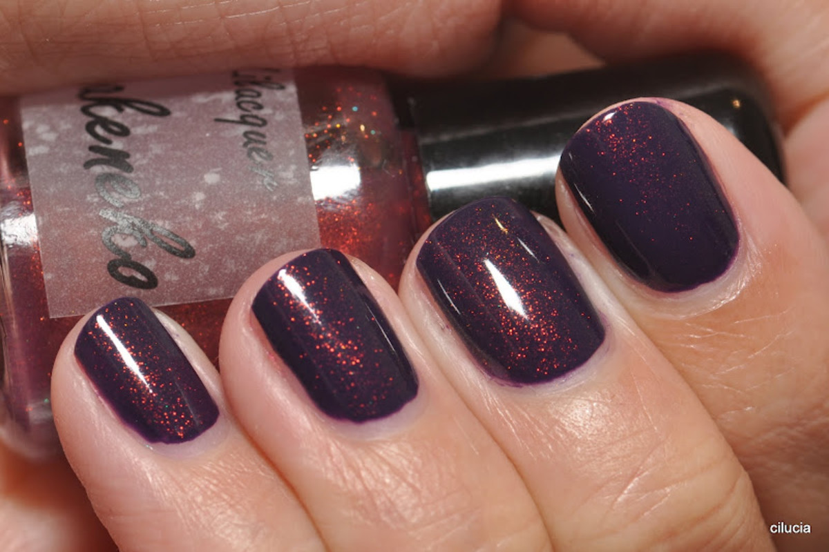"Bakeneko (over Zoya Pinta) - ""Deep purple base with heavy red undertones and copper to green shimmers with lots of gold flash."""