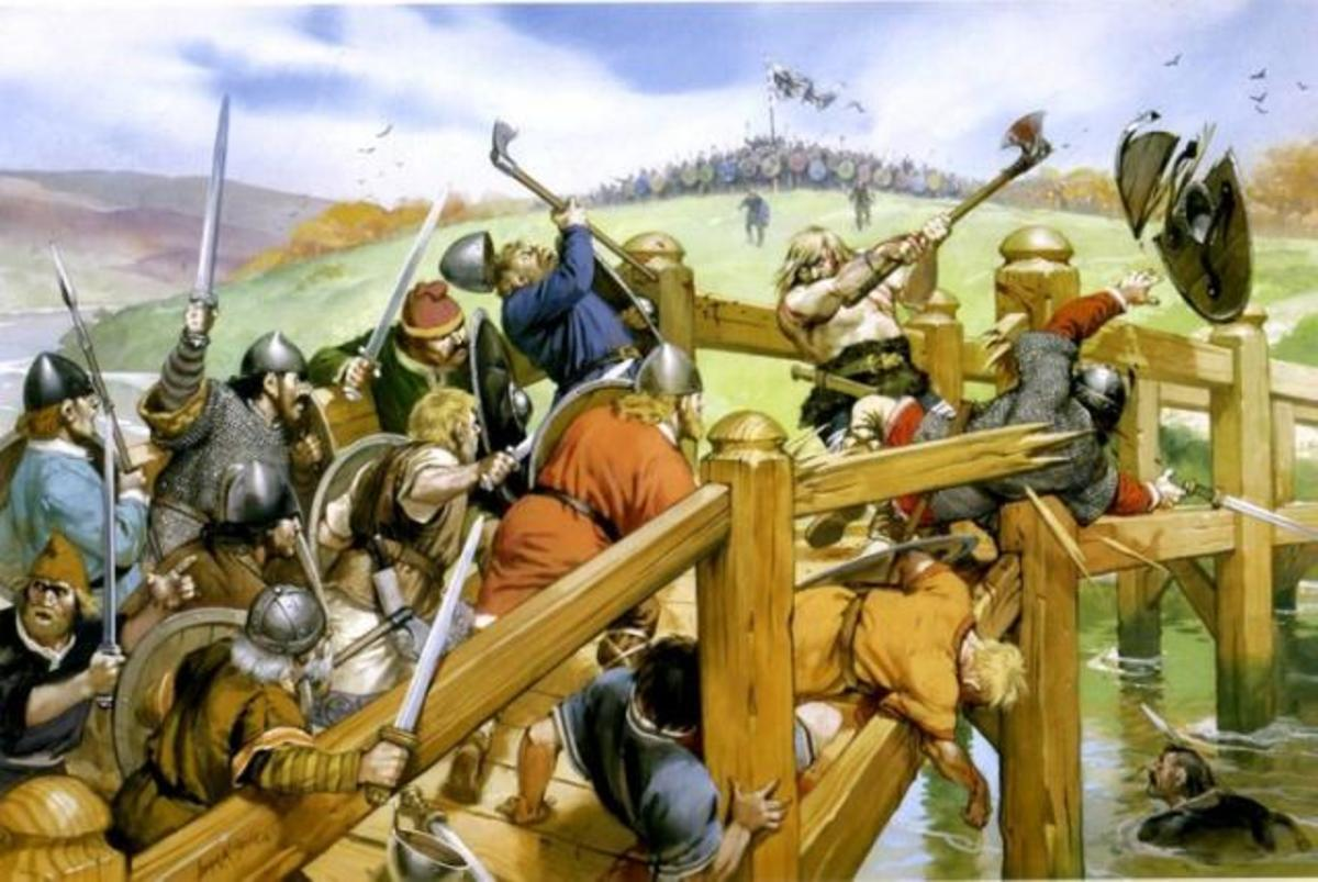 The giant on the bridge - he probably wouldn't have been bare-chested, but it would have been a wooden bridge. One of King Harold's men went under the bridge on a small boat and thrust his spear upward into the  warrior's private parts -
