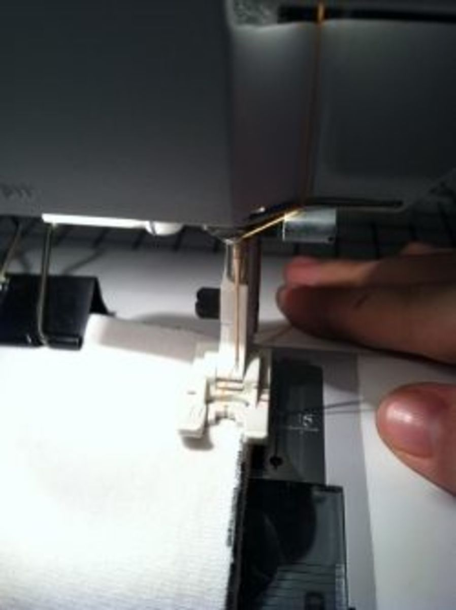 Place the soaker's edge under the presser foot.