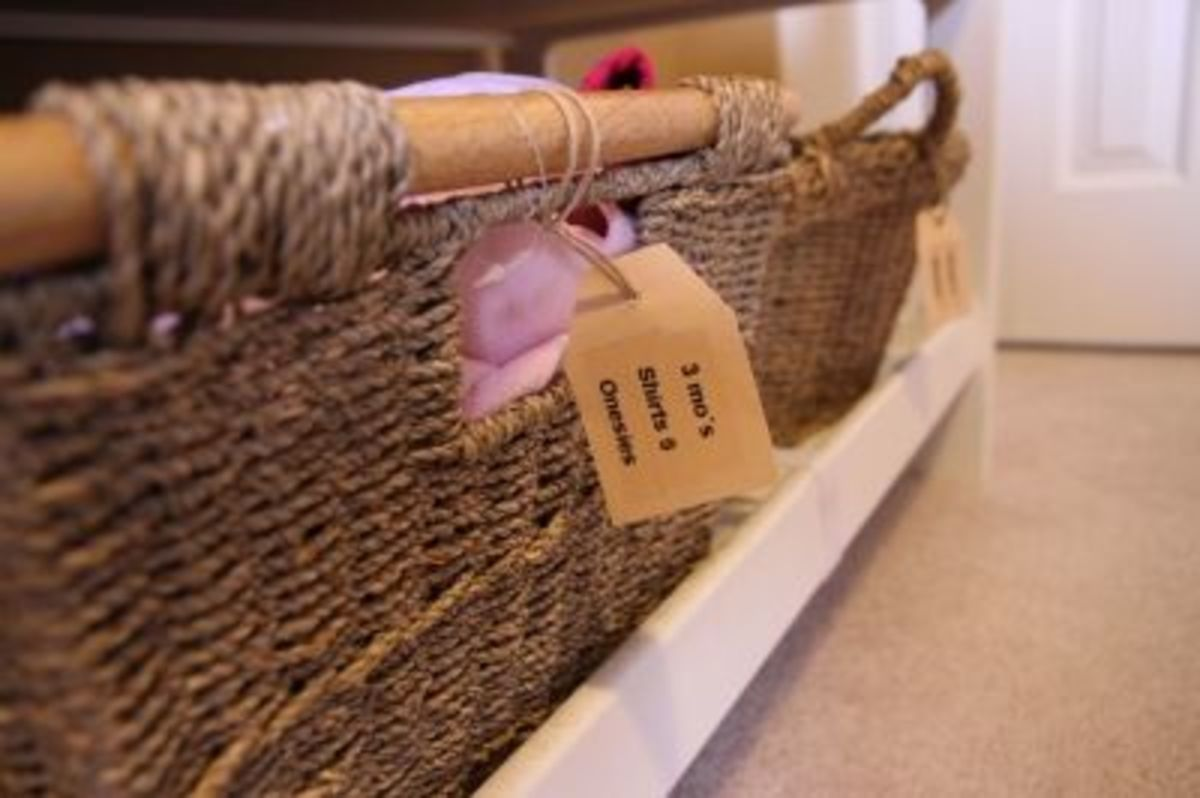 Baskets, twine, and labels made from a paper bag!