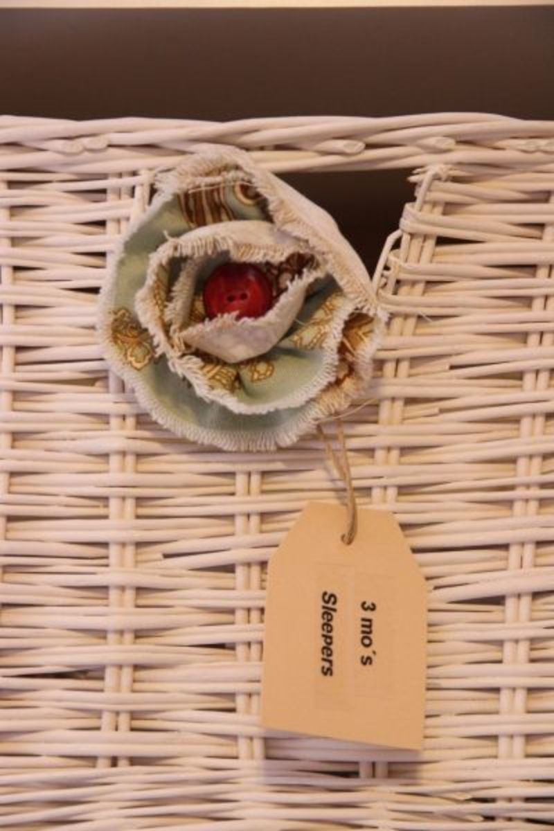 Little flower, button center, frayed edges and a labeled basket of happiness.