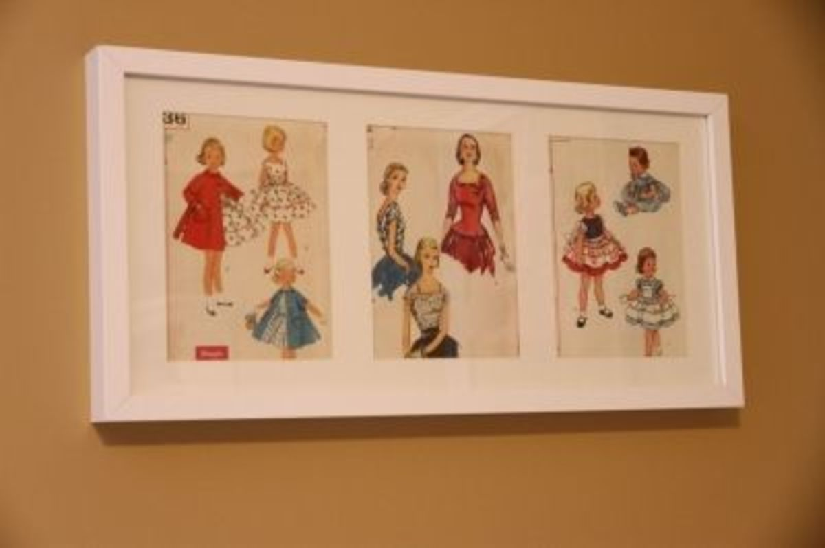 Vintage sewing patterns from Ebay in an Ikea picture frame!