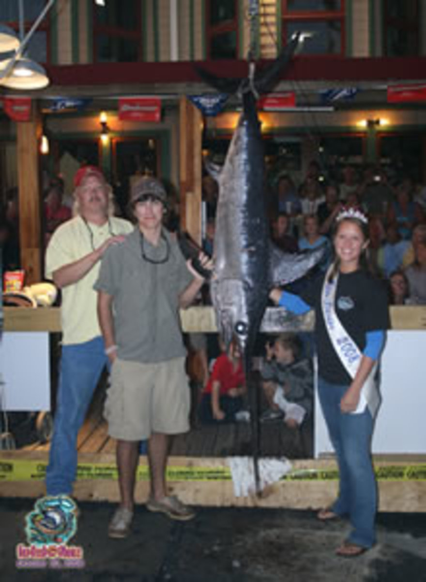 It took all night, but 15-Year-Old Andrew Hart brought this beautiful 94.0 lb. Swordfish aboard the Charter Boat Sunrise, captained by Kelly Windes. Hart, from Niceville, Florida captured 1st place Swordfish in the Overnight Division.