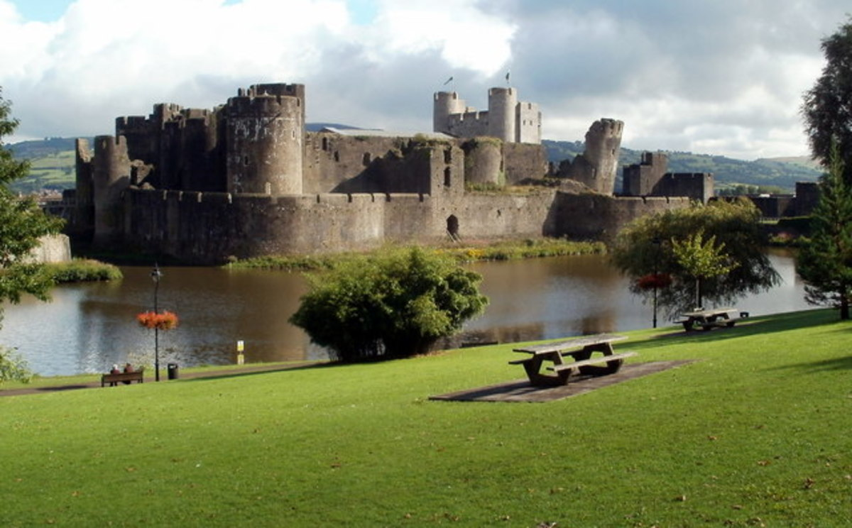 Caerphilly Castle is an impressive 13th century fortress north of Cardiff.