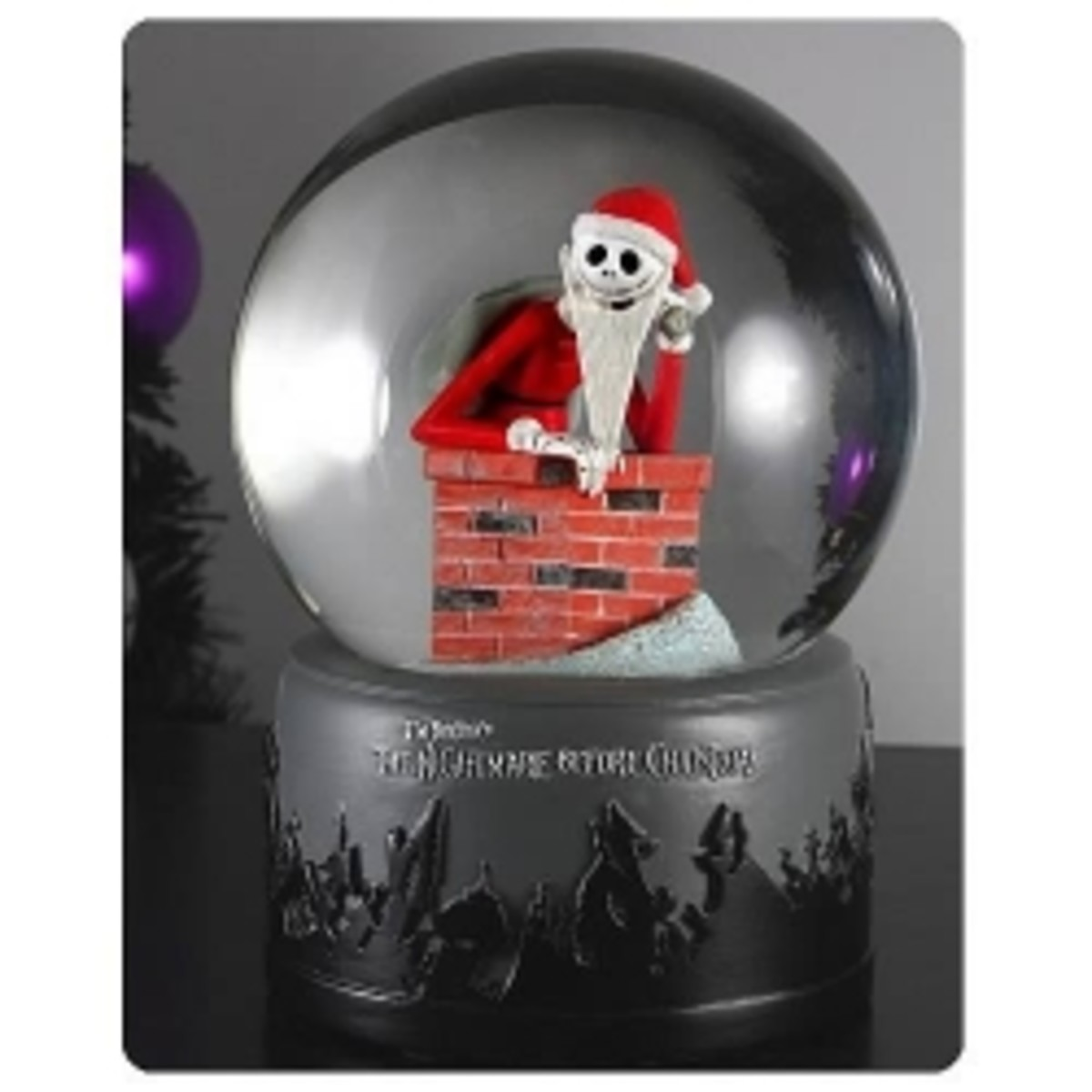 Tim Burtons Nightmare Before Christmas Chimney Santa Jack Skellington Waterball Snow Globe
