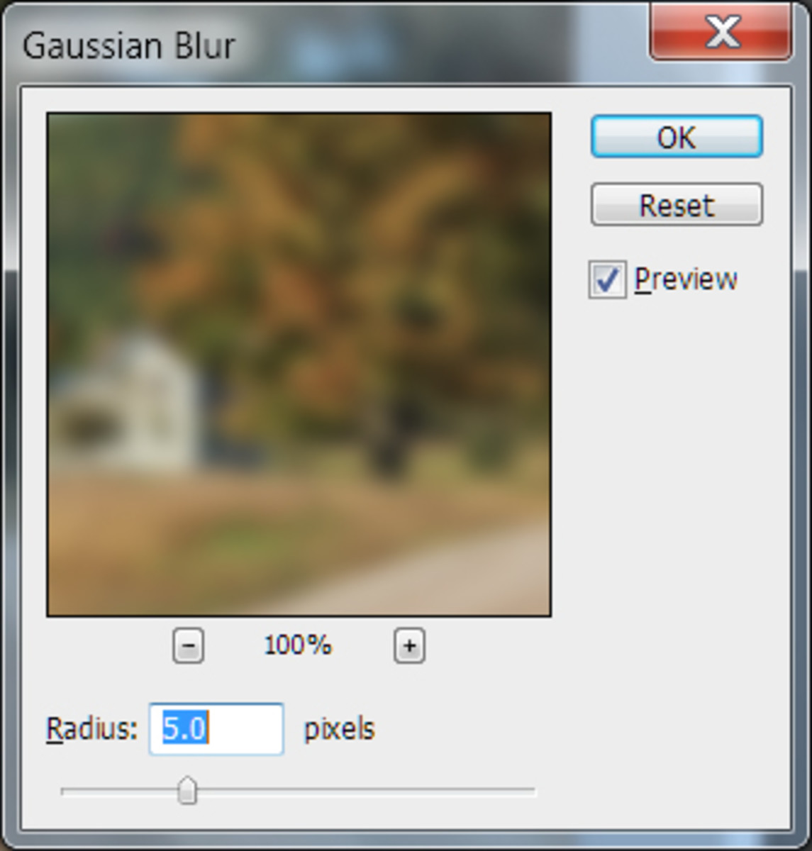 Adjust the amount of blur.  Try something between 3 and 10.