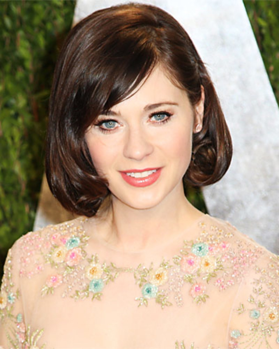 Zooey Deschanel' in rosy lipstick and a bob with bangs.