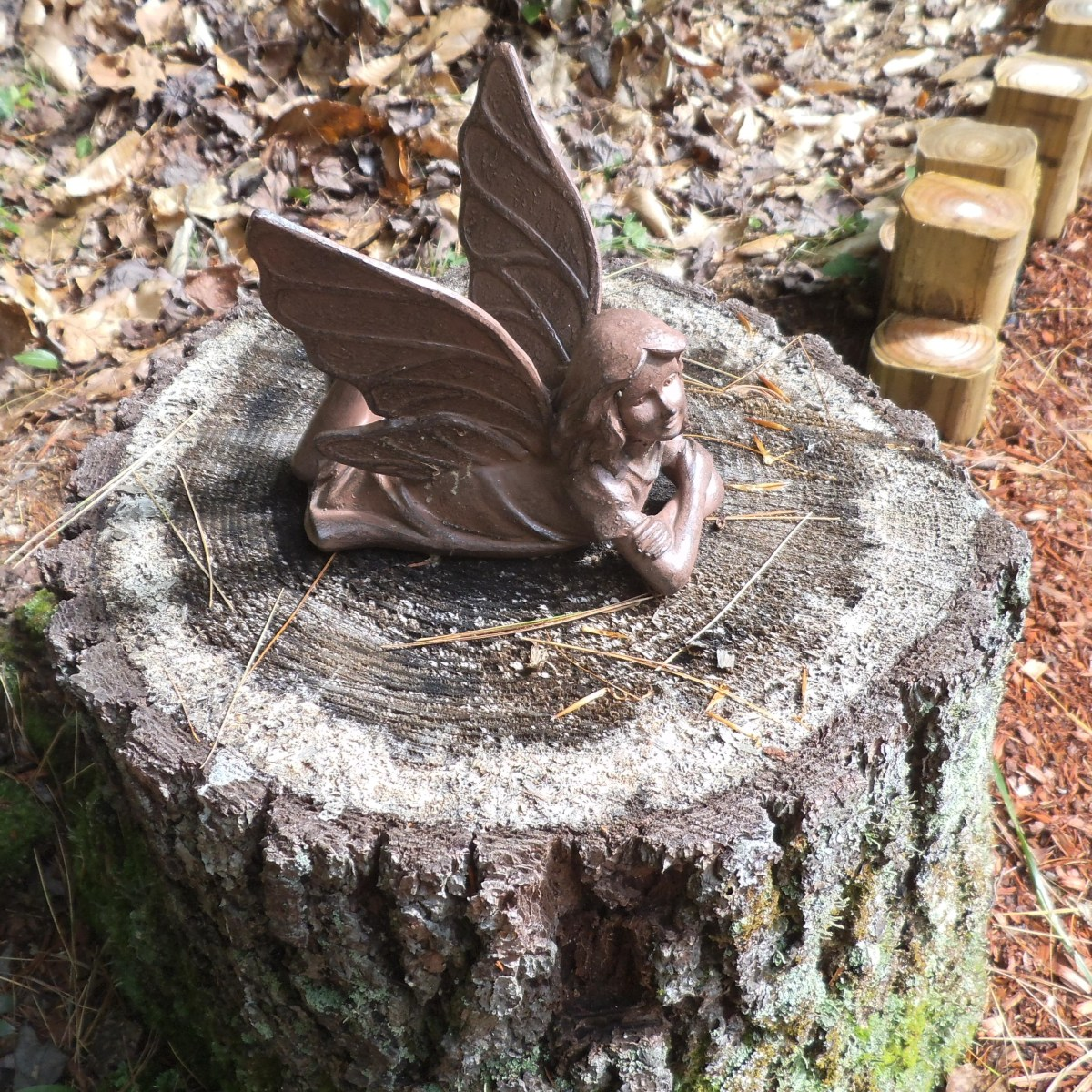 My fairy has no furniture, so she has to lounge on this old tree stump.