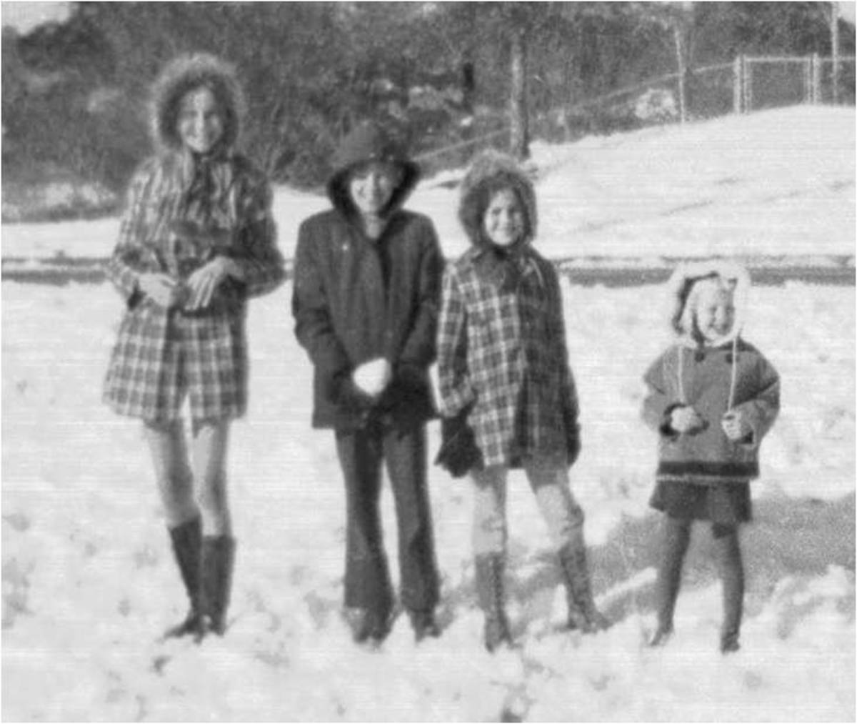 My siblings and I on a freak snow day in the South. I am the oldest one to the far left. Look at the mini skirt I am wearing. Ha ha.