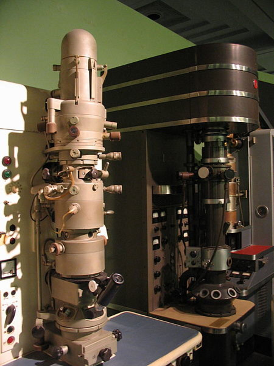 Two electron microscopes...albeit a little outdated. The electron microscope has a far greater resolving power than the light microscope. As such it can view the tiniest of details