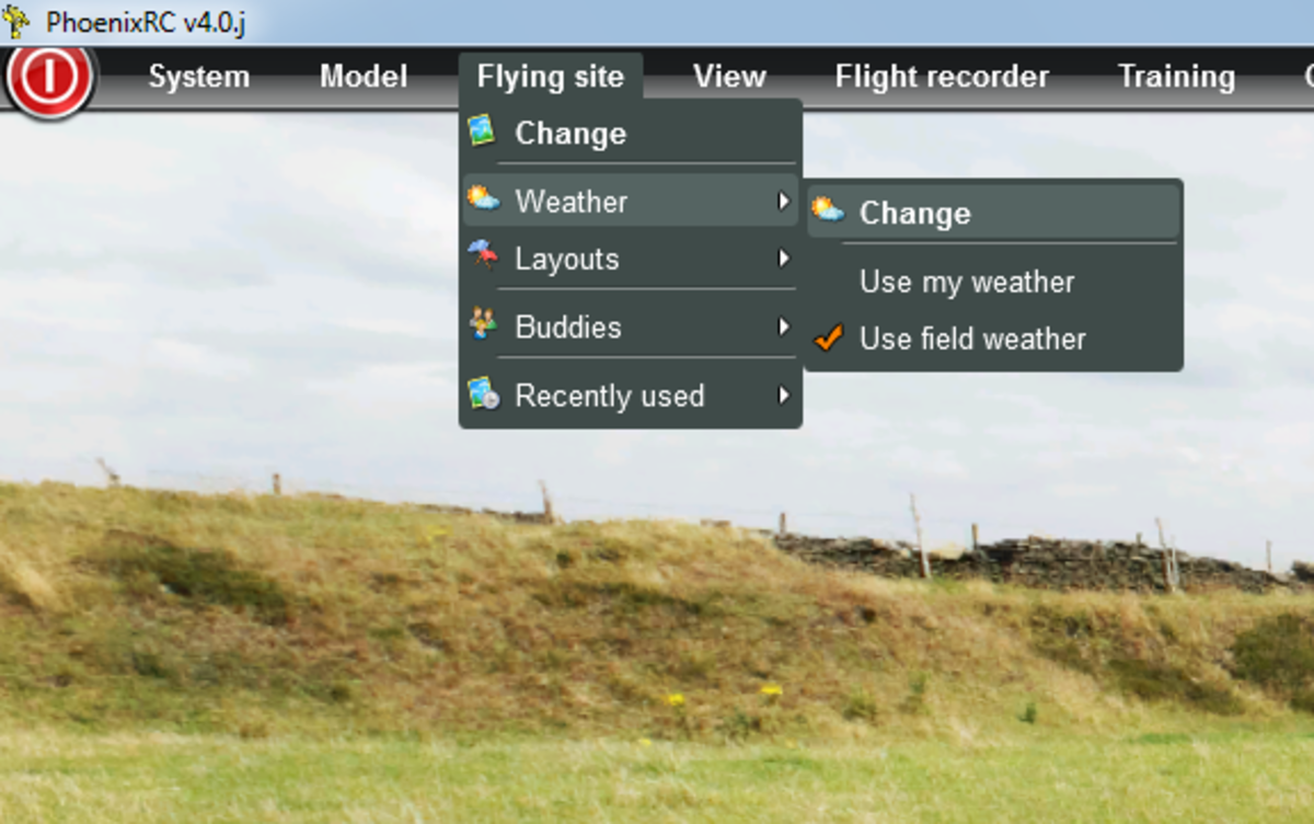 To Modify the Weather, choose the Menu titled Flying Site, then Weather and then Change
