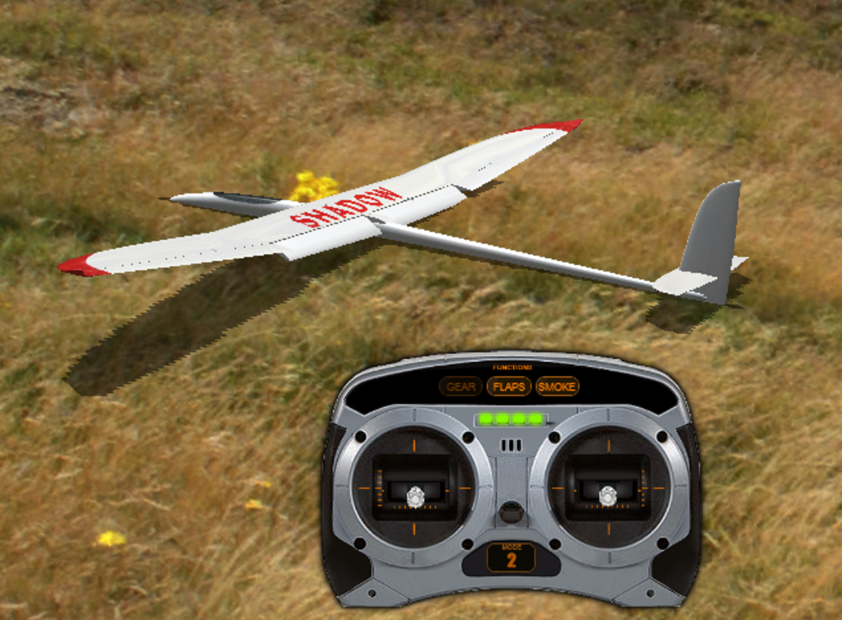 "Here is the glider with the Flaps engaged (note the word ""flaps"" highlighted on the controller?"