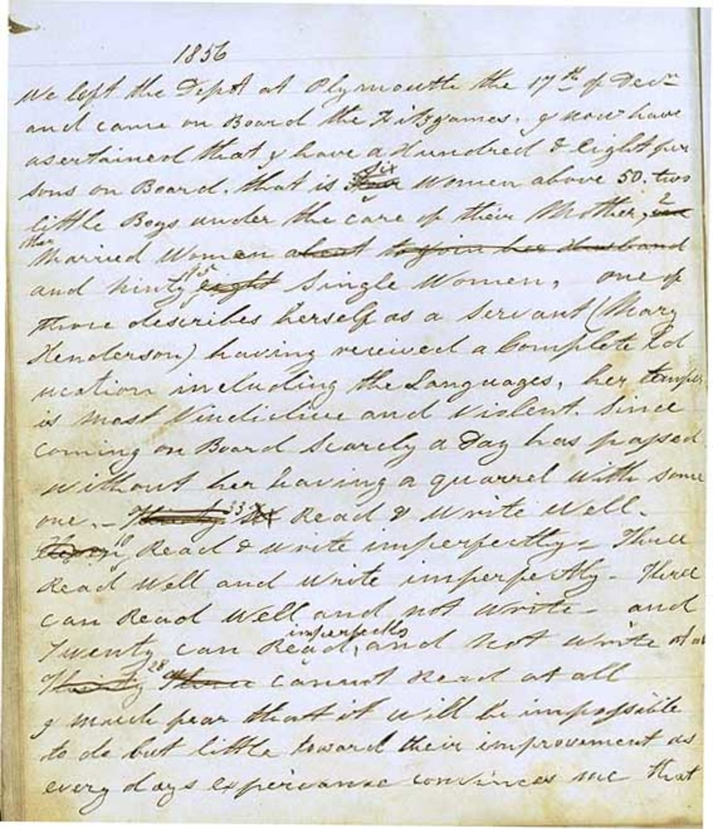 Matron's diary of the voyage of the 'Fitzjames', 1856-57   Matron Susan Austen was chaperone to 98 single females on the 'Fitzjames' which arrived in Sydney on 1 April 1857.