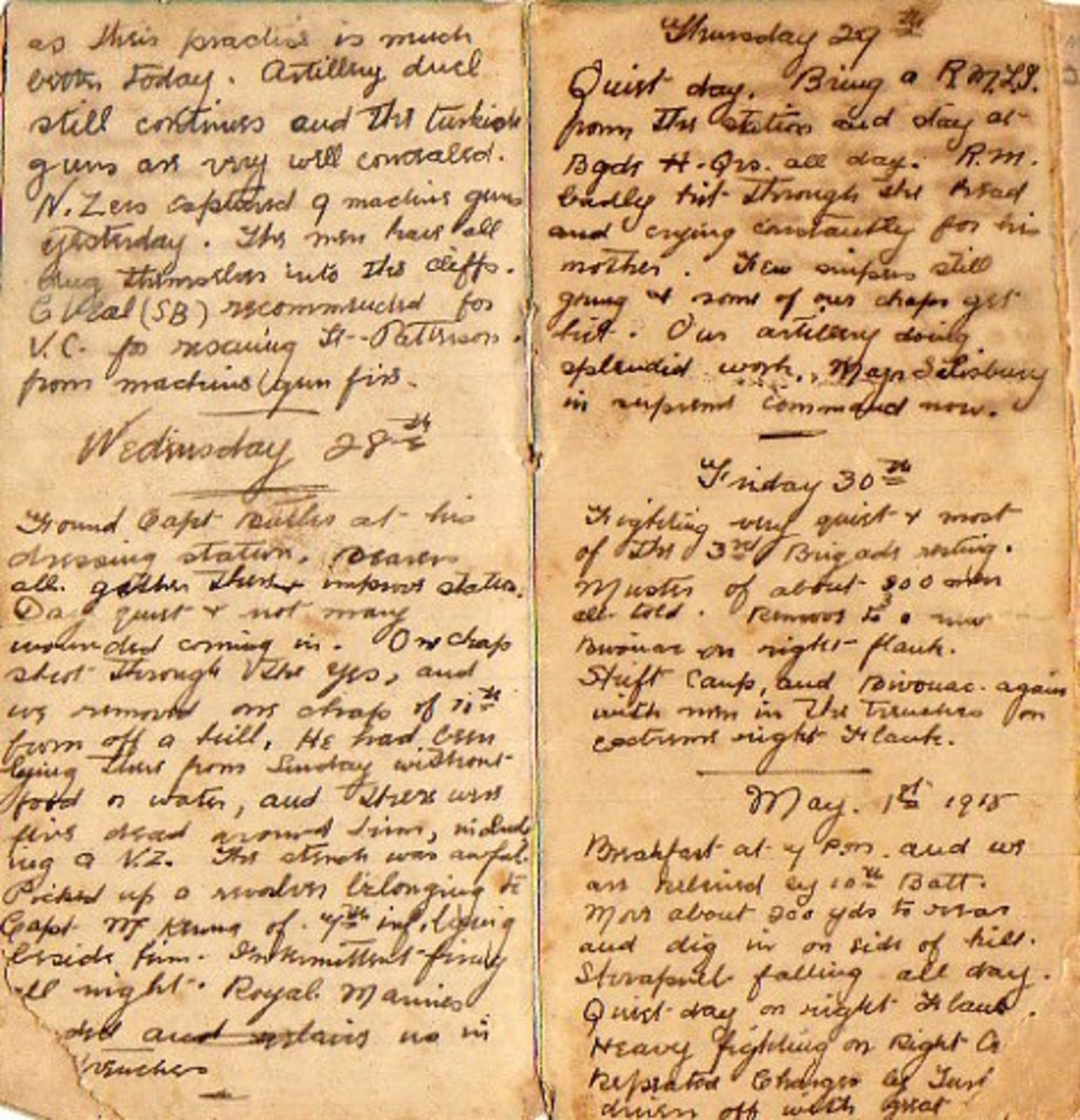 Diary of 494 Sergeant Joseph Cecil Thompson, Gallipoli 1915