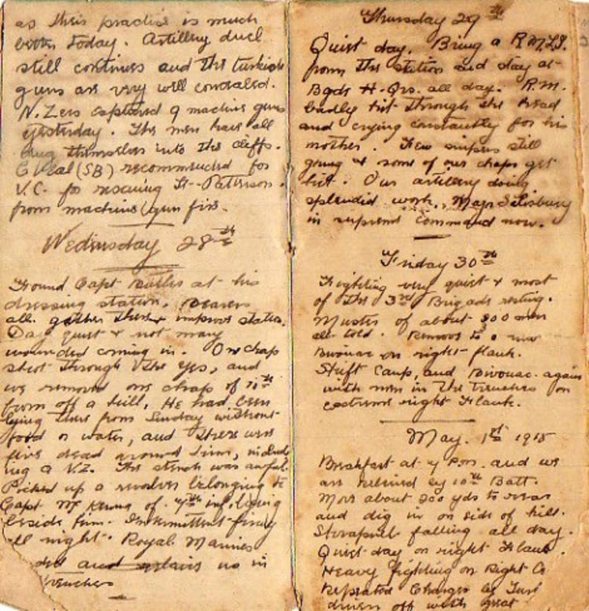 Diary of 494 Sergeant Joseph Cecil Thompson, Gallipoli 1915