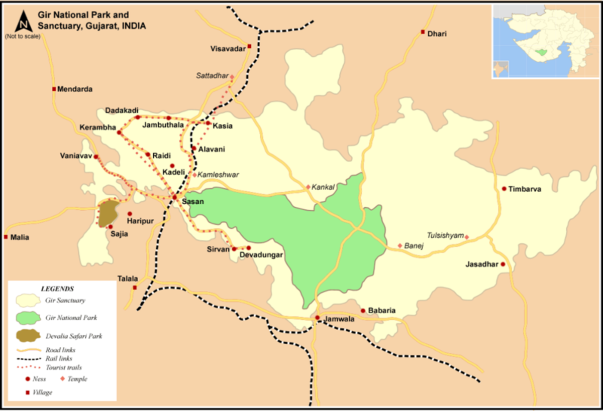 A map of the Gir Conservation Area.