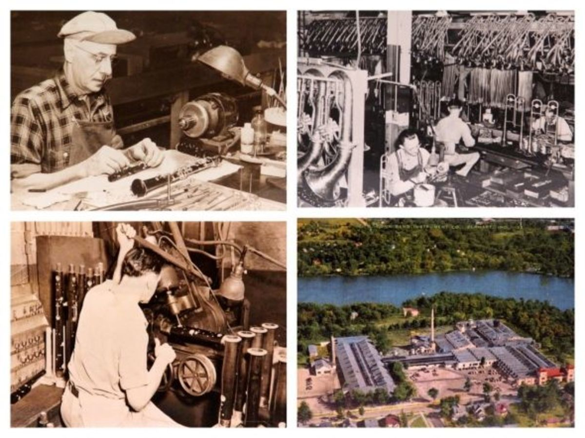 Vintage Conn factory postcards Elkhart Indiana