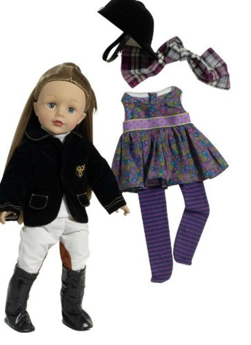"""Madame Alexander Girlz 18"""" Equestrian Doll (off white breeches and classic black jacket with insignia) with additional play outfit in a purple flower design"""