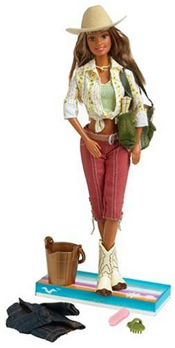 Western Style Horse Back Riding Barbie Doll with Cow Boy Hat and Cow Boy Boots