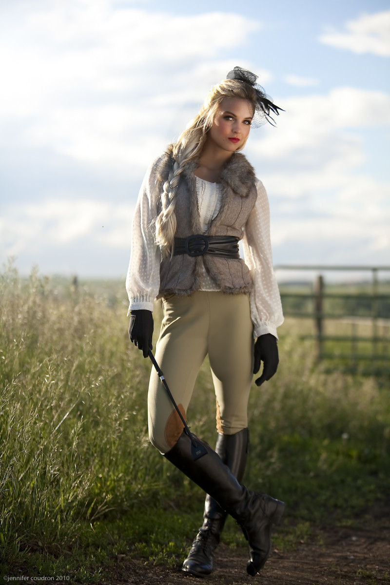 High Fashion Equestrian Style - Beautiful Model in Riding Pants, Boots and Gloves