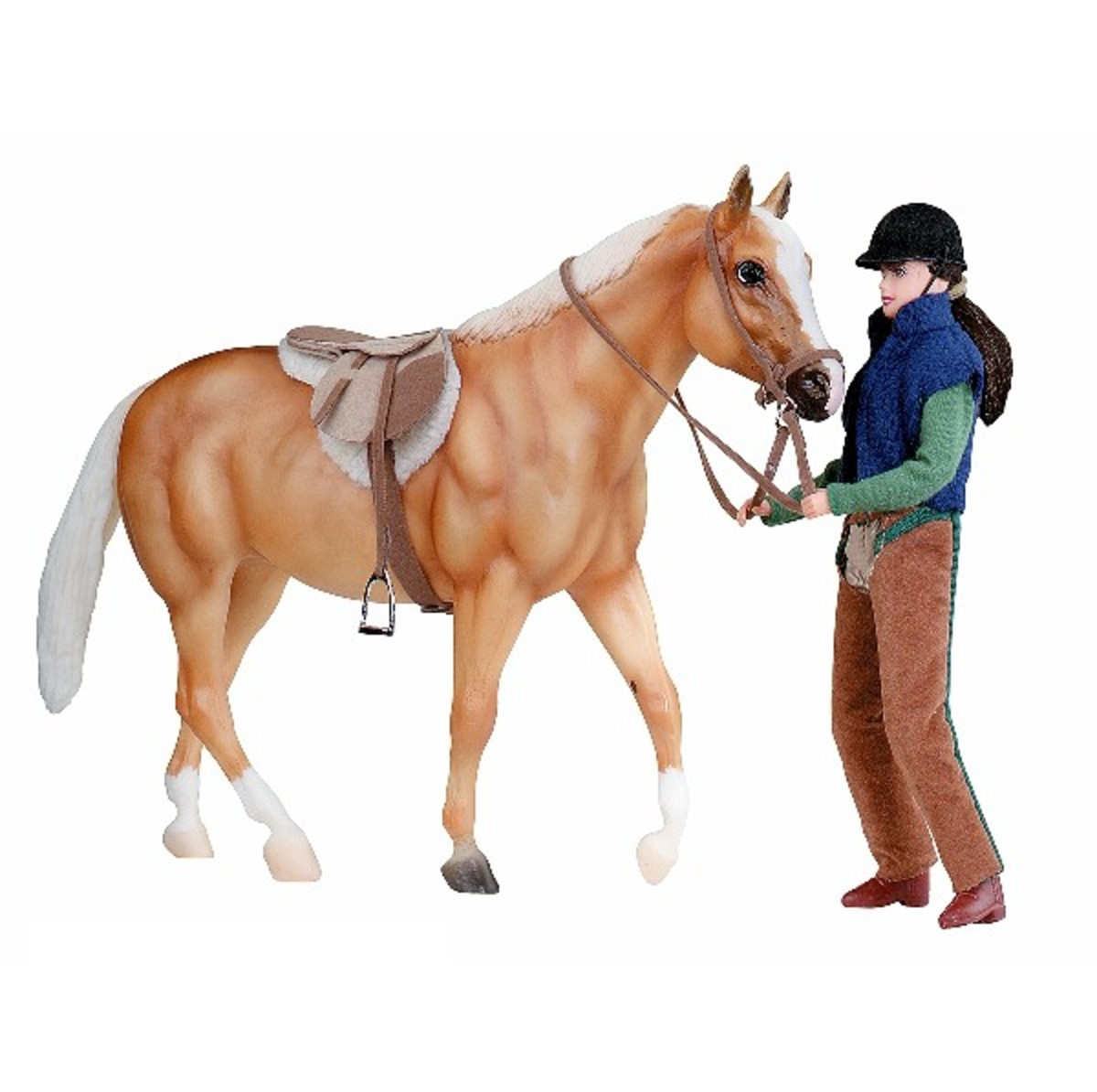 There`s no better introduction to the exciting world of model horses than Breyer® Animal Creations® Let`s Go Riding Gift Set. Start your collection with this fully tacked adorable palomino American Quarter Horse and smartly attired English equestrian