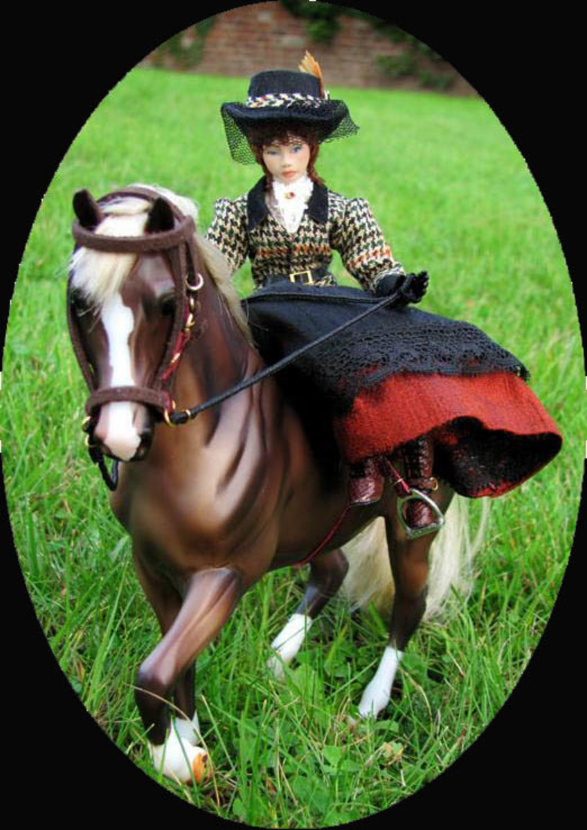 Horseback Riding Porcelain doll crafted ByAnneMarieDolls