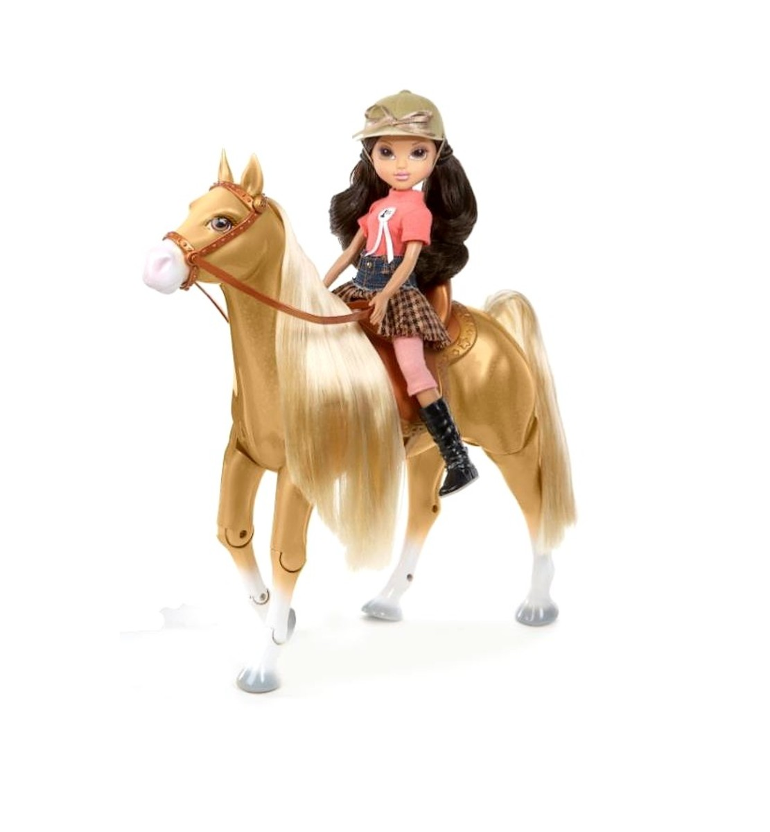 Moxie Girlz Doll and Horse    Moxie Girlz in contemporary horseback riding outfit with riding boots and hat. Fun horseback riding pieces