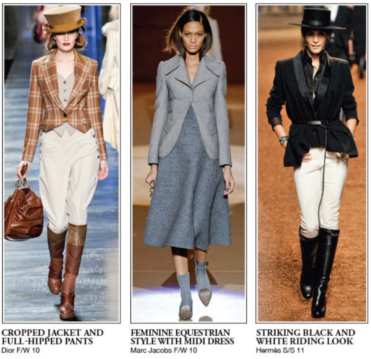Three Fashionable Equestrian Outfits on the Run Way - All Celebrating High Style for Horse Back Riding