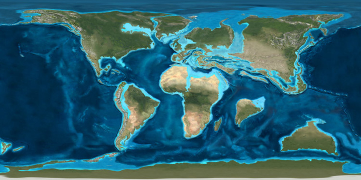 The position of the continents during the Palaeocene, some 60 million years ago.