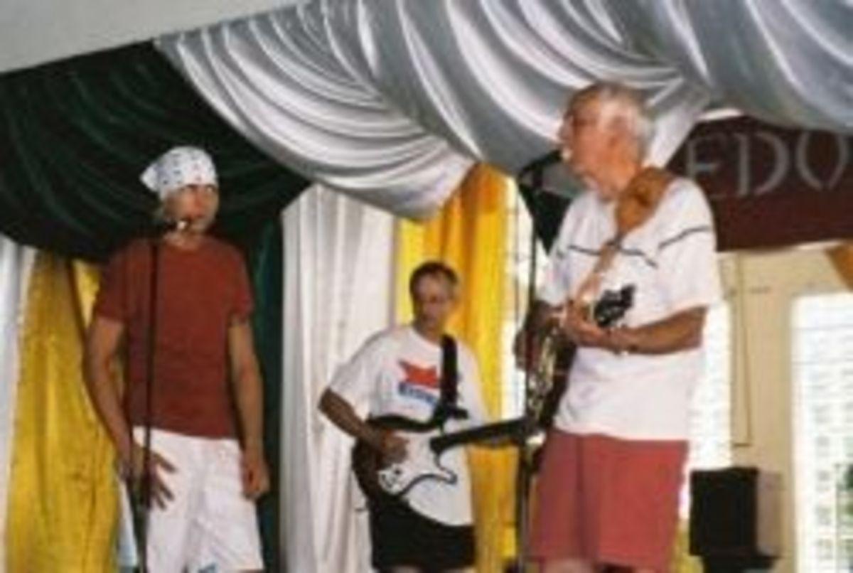 Austin Allsup, Tommy Allsup, Jeff Gibbons at Jamaica Rock 'n' Blues Jam