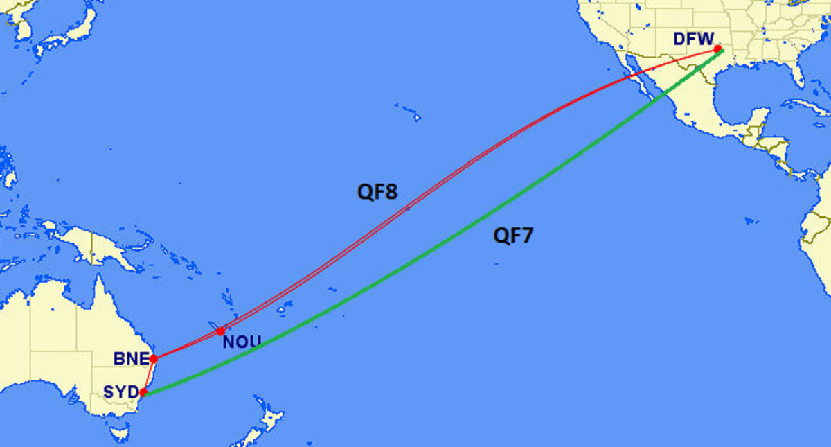 Direct Flights from the USA to Australia: Qantas Flight 8: Dallas (DFW) to Brisbane (BNE)