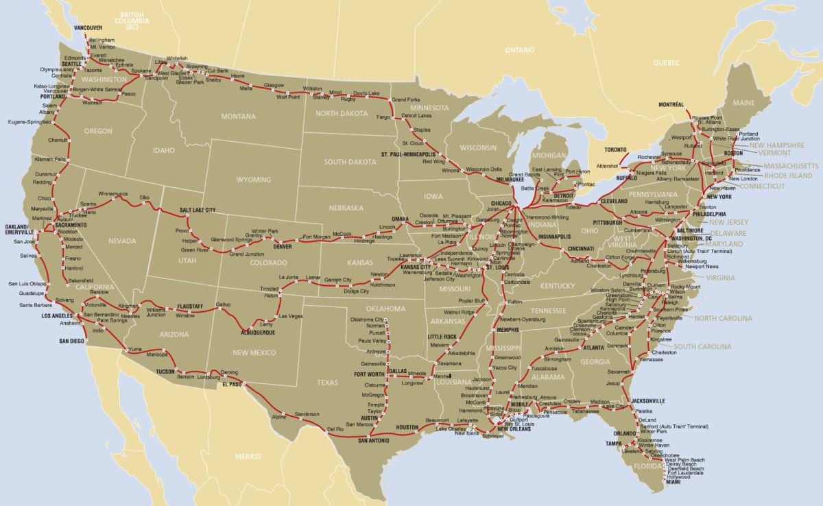 Map of Amtrak Service