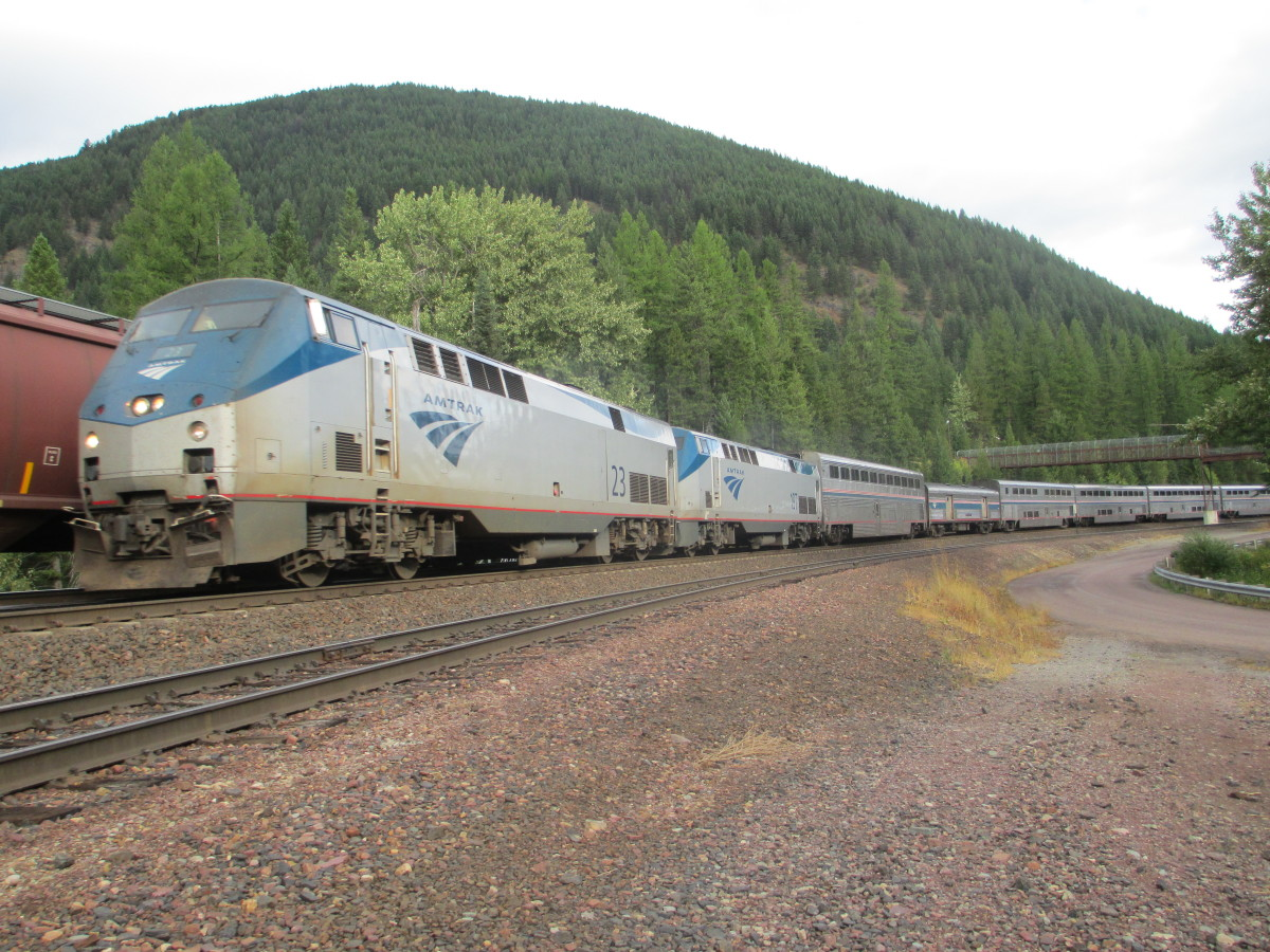 Eastbound Empire Builder Essex Montana is a typical Amtrak train in the west.
