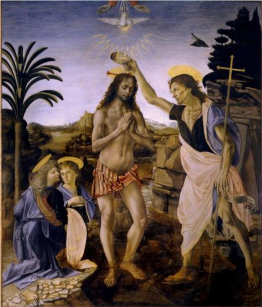 Andrea del Verrochio's Baptism of Christ. Leonardo da Vinci painted the angel of the extreme left.