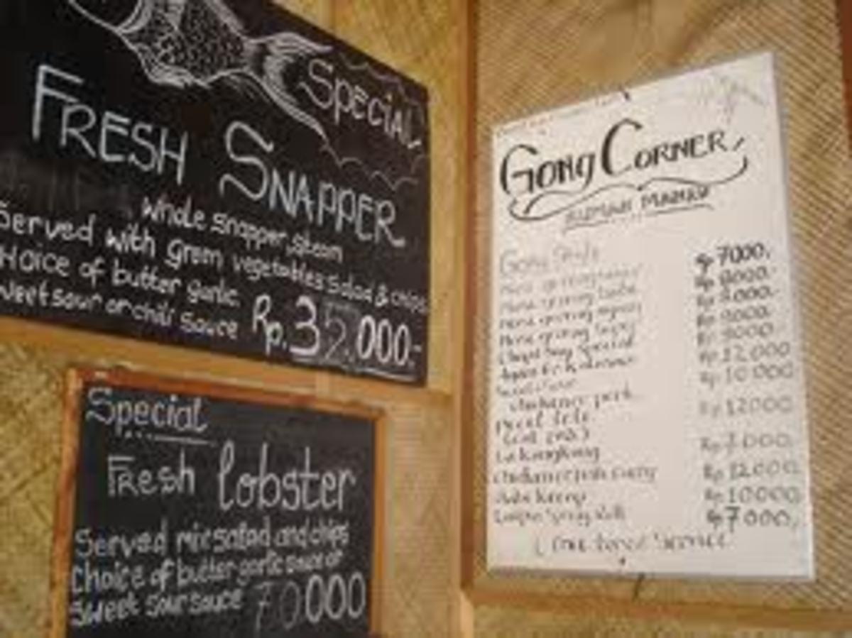 Gong Corner's Menu