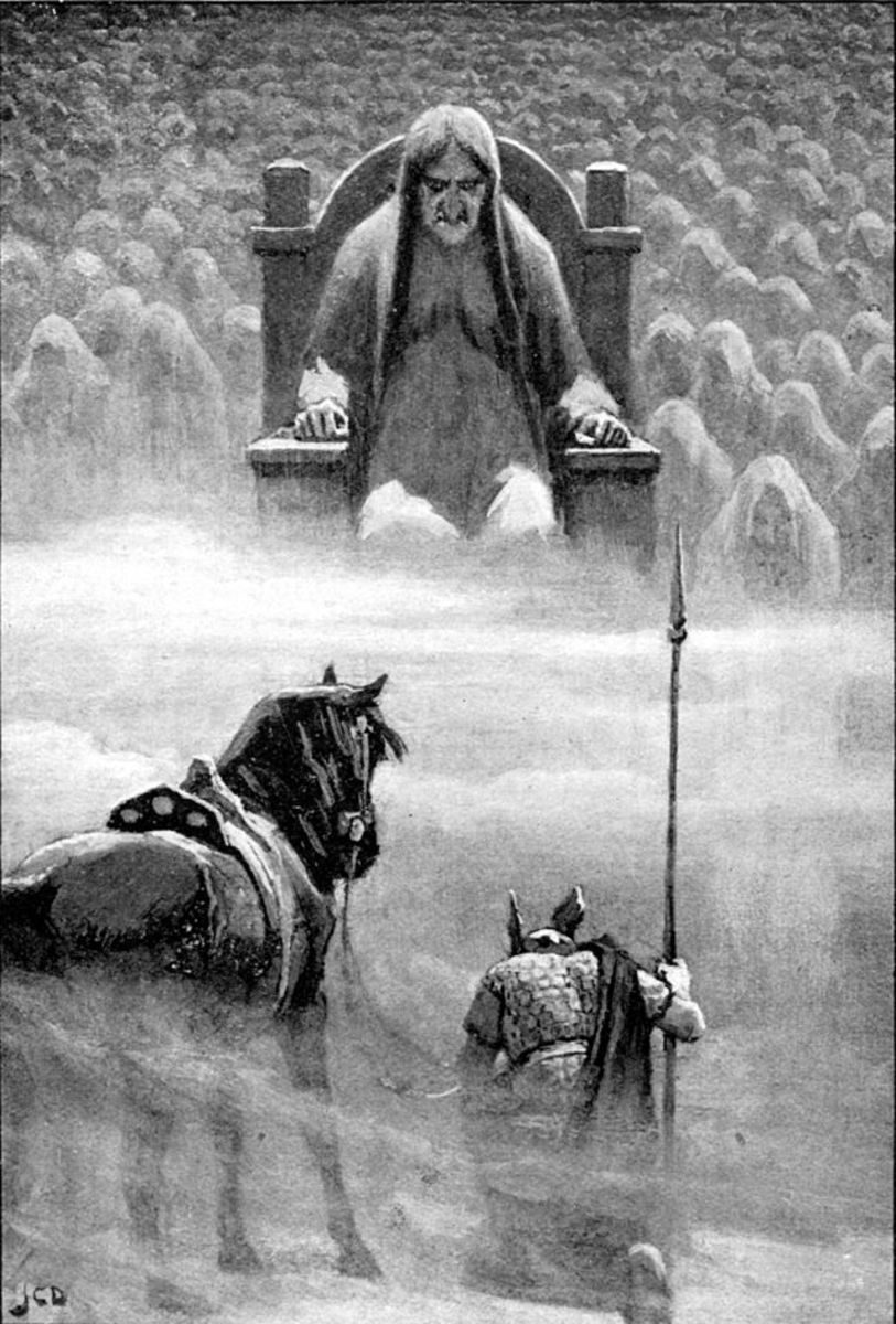 One of Odin's younger sons, Hermod kneels before Hel in Niflheim in a bid to have Baldr released