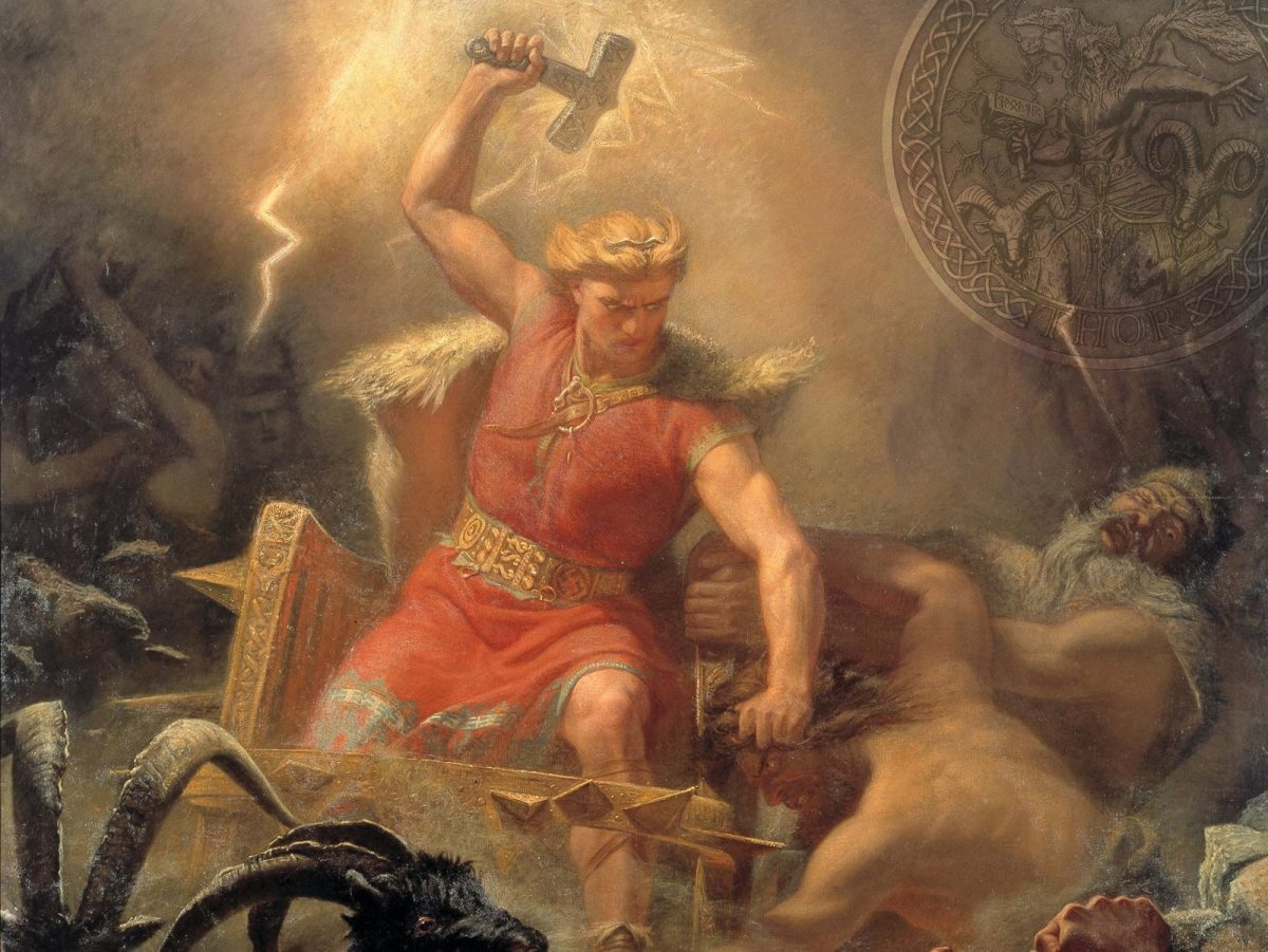 Thor brandishes the hammer Mjoellnir against an attack on Asgard by giants