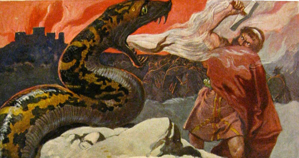 Ragnaroek - showing Thor locked in the immortal fight against another of Loki's 'children', Jormungand the World Serpent