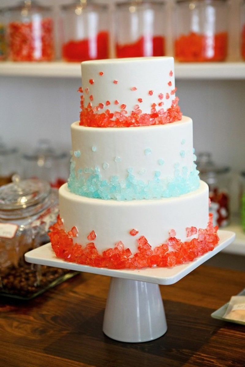 Decorate your cake with red and blue rock candy or pop rocks candy for the Fourth of July.