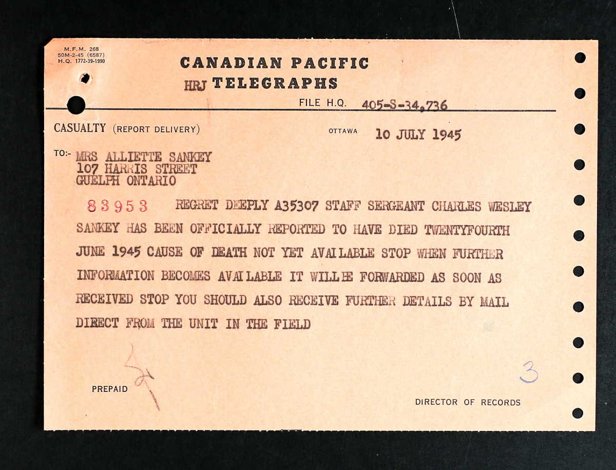 A telegram from a relatives service file.